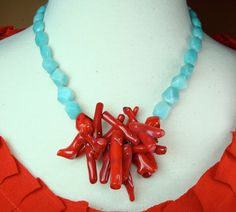 Coral+and+Amazonite+Necklace