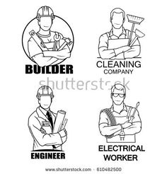 A set of logos a builder with a construction tool an engineer with a layout an electrician with a tool and a cleaner Logo Builder, Dr Logo, Woodworking School, Construction Tools, Electrical Engineering, Layout, Logos, Bow, Decals