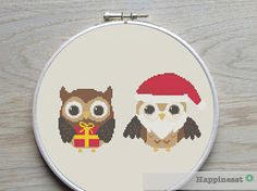 Cross stitch pattern christmas owls PDF  instant by Happinesst