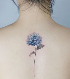 Flower Tattoo by 타투이스트. 타투이스트 꽃 artist works on women's tattoos and works exclusively for women. Continue Reading and for more Flower Tattoo designs → View Website Mini Tattoos, Foot Tattoos, Finger Tattoos, Body Art Tattoos, Dream Tattoos, Blue Flower Tattoos, Flower Tattoo Designs, Hydrangea Tattoo, Flower Tattoo Shoulder