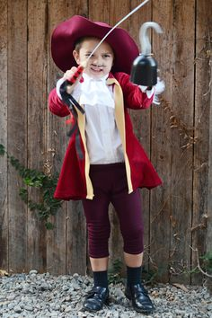 Pattern for DIY Captain Hook coat and lacy shirt. This looks simple enough for me to try!