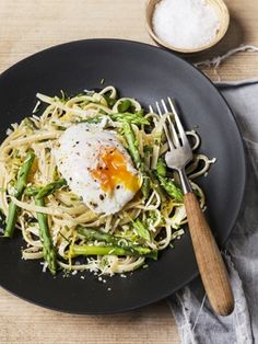 A Simple Pasta with Poached Egg and Asparagus Recipe - these are few of our favorite things!