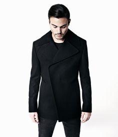Kaledin Pea Coat, Men, Coats, AllSaints Spitalfields