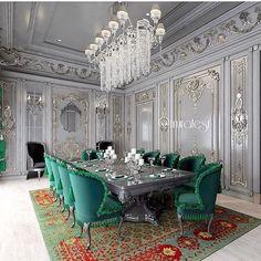 Elegant Home Decor, Luxury Home Decor, Elegant Homes, Dream Home Design, Home Design Plans, House Design, Luxury Dinning Room, Dining Room Design, Interior Exterior