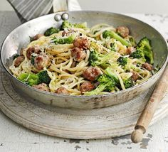Sausage & broccoli carbonara - A spin on the Italian classic using sausage meatballs, spaghetti and greens - on the table in half an hour