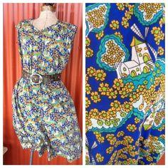 Vintage dress Floral pattern free size by KitschVintageClothes, $15.00
