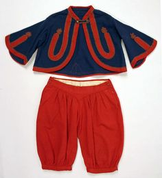 A boy's wool Zouave-style suit from 1858. Zouaves were originally light infantry soldiers in the French army, serving mostly in North Africa. Their uniform, which consisted of an open-front coat and baggy trousers, was adapted by Union units in New York during the American Civil War.  Zouave jackets were so popular in the late 1850s and early 1860s that they were not only worn by boys, but also came in stylish varieties for women.
