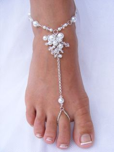 Barefoot Sandals, Barefoot shoes, Beaded Foot Jewelry for Beach Wedding, JESSICA Small. Beaded Foot Jewelry, Beaded Sandals, Body Jewelry, Wedding Jewelry, Feet Jewelry, Beaded Anklets, Jessica White, Bijoux Design, Jewellery Designs