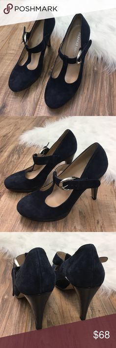 "✨New Listing✨ Franco Sarto Suede T-Strap Heels: EUC - Franco Sarto / 4"" heel / These Franco Sarto t-strap Mary Janes are gorgeous. Navy blue genuine suede, size 7 M, only worn a couple times Franco Sarto Shoes"