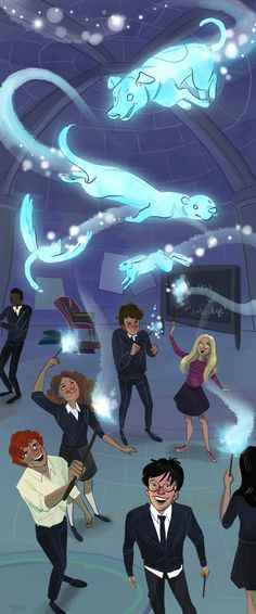Patronuses!! Hermione has an otter, Luna has a hare, Cho has a swan, Ron has a terrier, and I think that's it