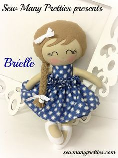 This is a 15 inch Doll that is part of the Dressy Doll collection from Sew Many Pretties.  This cutie is handmade from 100% cotton fabrics and wool blend felt for her hair and long braid. Facial features are hand embroidered.  Her wrap around skirt is removable with a velcro closure.   Her ...