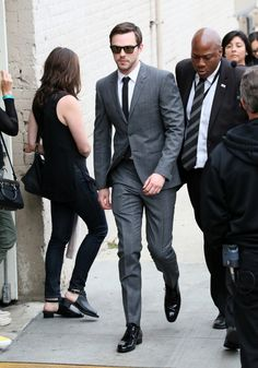 Nicholas Hoult wears Burberry Tailoring for a Jimmy Kimmel Live taping.