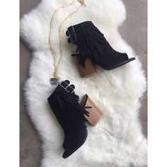 Fringe Booties Open toe fringe suede booties  buckle detail and zips on other side. Please ask for a listing sizes 6 - 10 *size 8.5 & 9 sold out Qupid Shoes Ankle Boots & Booties