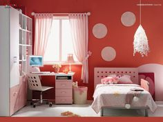 14 Lovable and Cute Kids Bed Designs You Must Have : Charming Kids Single Bed with White Study Desk and White Swifel Chair also White Tiles Ceramic Flooring and Red Wall Painting