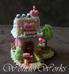 Whimsy Love Sweet Shop - Tiny Miniature Handmade Collectible Whimsy House Sculpture made from polymer clay.