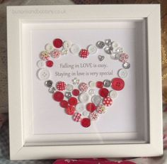 A beautiful button heart with quote. The print reads 'Falling in LOVE is easy, Staying in love is special'. Love is special Button Heart Picture. Available in Red, Silver, Pearl & Silver (as picture), Gold and Purple. | eBay!