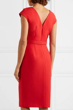 Oscar de la Renta Belted Embellished Wool And Silk-blend Cady Midi Dress - Red Oscar Dresses, Modest Dresses, Simple Dresses, Red Long Sleeve Shirt, Red Midi Dress, Casual Work Outfits, African Fashion Dresses, Stretch Dress, Chic Dress