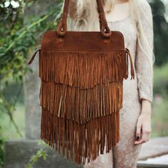 Boho Brown Fringe Bag