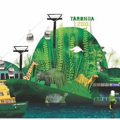 """What's one of your favourite things to do in Sydney? Taronga Zoo (pictured here) catching a ferry to Manly or beaching it an Bondi? We'd love to hear what you get up to with the kids? And where you love to explore? ___ This Antonia Presenti print """"Z is for Zoo"""" is available in store now. Limited edition. Perfect for a little explorers room or for a uniquely Australian styled nursery. . . . #PugglePost #PugglePosse #AlphabeticalSydney #AntoniaPresenti #ZisforZoo #Art #Prints…"""