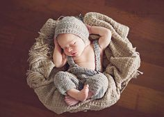 Gray Newborn Photo Prop - Newborn Hat and Pants - Baby Boy Crochet Pants and Hat  - Boy Outfit - Newborn Photo Prop - Newborn Suspenders