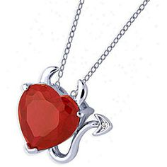 @Overstock - Devilishly darling heart pendant is as unique as it is beautiful  Elegant and stylish necklace can be worn both day or night, for dress or casual  Lovely piece adds a splash of color to your jewelry. $26.99