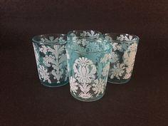 Vintage Juice Glasses Aqua with White Damask by TazamarazVintage