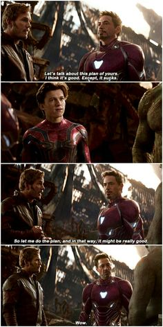 I love how Peter (Parker) is so amused that someone is talking to Tony like that XD