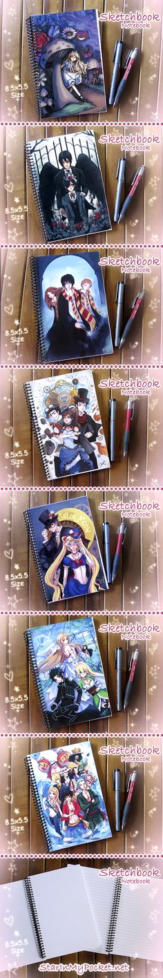 New anime sketchbooks or journal notebooks at my etsy store!! ^___^  ♥♥ Alice in Wonderland, Black Butler, Harry Potter, Korra, Sailor Moon, Sword Art, and One Piece ♥♥