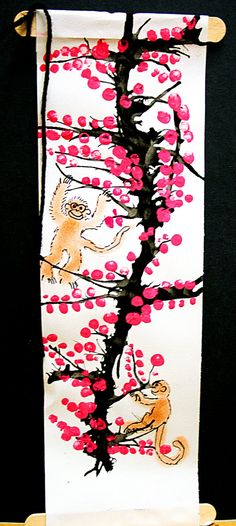 I did this with first and second grade and it was simple and turned out really cute!  First we looked at photos of Cherry blossom trees and ...