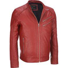 Wilsons Leather Faux-Leather Moto Jacket #Wilsonsleather #Redjackets
