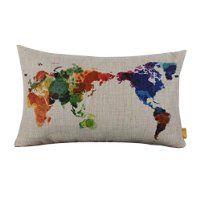 Modern Fashion Watercolor World Map Burlap Pillow Cases $1.51
