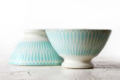 As a centre piece on a table set for lunch, filled with white flowers - 2 LOVELY vintage Turquoise  BOWLS cafe au lait   by RueDesLouves, $70.00