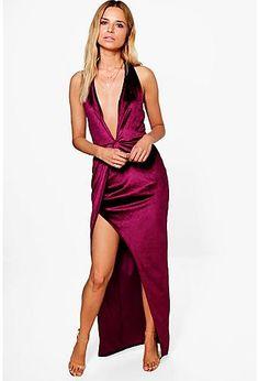 Alia Velvet Plunge Side Split Maxi Dress