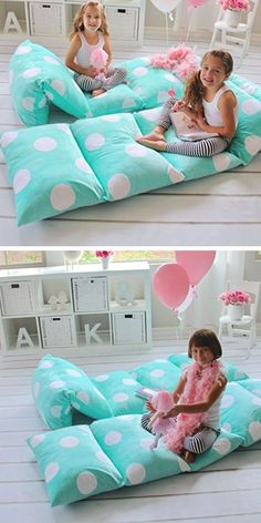 Girl's Floor Lounger Seats Cover and Pillow Cover | Easy Tumblr Decor Bedroom Ideas for Teen Girls | Cheap and Easy Bedroom Decorating Ideas