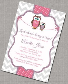 Printable Girl Baby Shower Invitations with Mommy and baby owls. pink and purple baby shower Owl Shower, Grey Baby Shower, Shower Bebe, Shower Ideas, Baby Shower Invitaciones, Baby Party, Party Fun, Party Ideas, Baby Shower Invitations For Boys