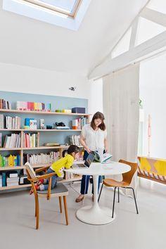 Carolina Gomez, blue wall with shelves - fashion magazine child
