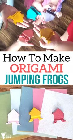 Origami jumping frogs are a perfect activity while learning about Japanese culture or about frogs themselves! Check a fun story that you can share as well! Origami Frog, Origami Paper, Book Crafts, Paper Crafts, Make A Paper Airplane, Jumping Frog, How To Make Origami, Fun Activities To Do, Japanese Culture