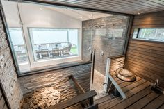 Modern sauna Modern Saunas, Finnish Sauna, Spa, Steam Room, Hearth And Home, Nice View, Home And Living, Relax, House Design