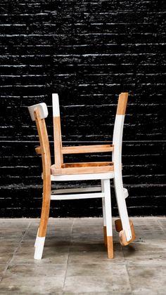 Sabrac & Darak Bistro chairs natural and white painting Carved wood on the back Chaises de bistrot peinture blanche sur bois naturel Dossier gravé au nom de S&D
