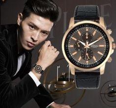 Fashion Unisex Geneva Armbanduhr Kupfer mit Kunstleder 16748952