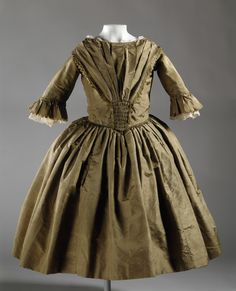 Girl's Dress | Girl's Dress England, circa 1848 | Silk, glazed cotton lining | LACMA Collections