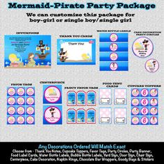 Mermaid Pirate Birthday Invitations  by CutiesTieDyeBoutique, $39.00 cutiepatootiecreations.com!  #pirateparty #mermaidparty #mermaidpirateparty