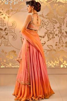 Satya Paul http://www.satyapaul.com/satyapaul/shop/bridal-wear/bridal-lehengas/shaded-peach-lehenga-esw2460-00 ~ http://www.facebook.com/SatyaPaulIndia