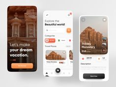 Travel App by Imran Hossen for Orizon: UI/UX Design Agency on Dribbble Ui Ux Design, Design Agency, Smartphone, Layout, Mobile Design, Beautiful World, Mobile App, Places To Travel, Cool Designs