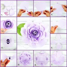 Paper flower Sybelle style rose created by Catching ColorFlies designs. Templates available. DIY paper flowers.