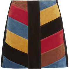 M.i.h Jeans Chevron patchwork suede mini skirt ($580) ❤ liked on Polyvore featuring skirts, mini skirts, bottoms, mih jeans, black, colorful skirts, zipper skirt, a line skirt, suede a line mini skirt and vintage skirts