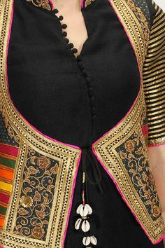 Black cotton kurta set with embroiderd jacket koti available only at Pernia's Pop-Up Shop.