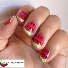 rubytadpole's watermelon nails, bargain hunters paint all the nails thread Nail Tip Designs, Nail Polish Designs, Makeup Designs, Neon Nail Polish, Neon Nails, Gel Nail, Ruby Nails, Watermelon Nails, Creative Nails