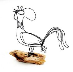 Rooster Wire Sculpture by WiredbyBud