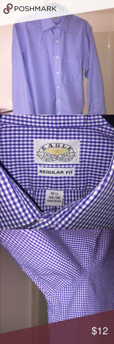 Men's Dress Shirt Eagle Brand dress shirt. Neck size 15 1/2. Sleeve length 34/35. Regular fit. Excellent condition. No longer fits. No pit stains. Eagle Shirts Dress Shirts